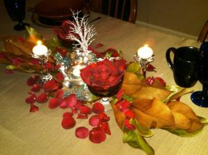 Holiday Centerpiece with Roses and Magnolia Leaves