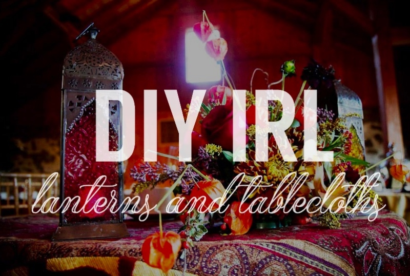 wedding diy linens and lanterns